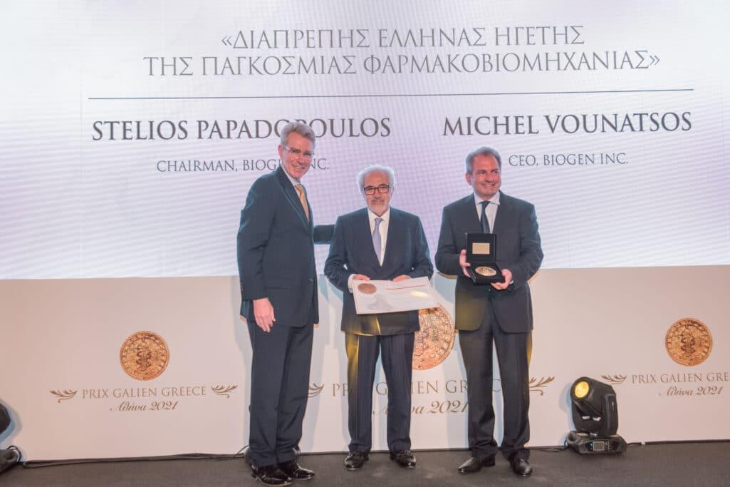 Η Α.Ε. Πρέσβης των ΗΠΑ κ. Geoffrey Pyatt με τους κ.κ. Stelios Papadopoulos και Michel Vounatsos, Chairman και CEO αντίστοιχα της Biogen Inc.